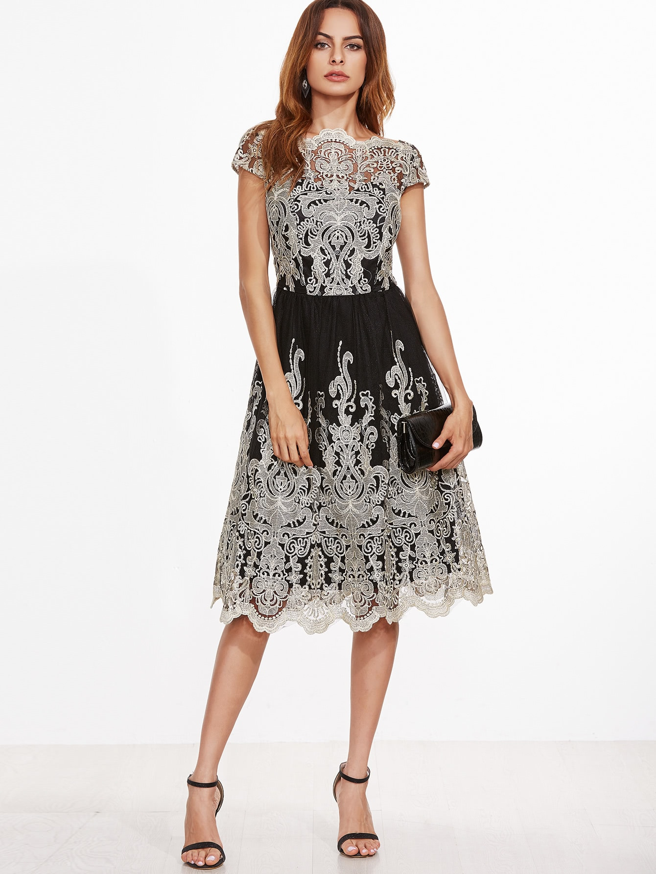 Contrast Fit And Flare Embroidered Mesh Dress zip back fit and flare splicing dress