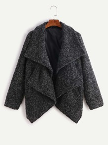 Abrigo sherpa asimétrico con doble cuello - gris oscuro
