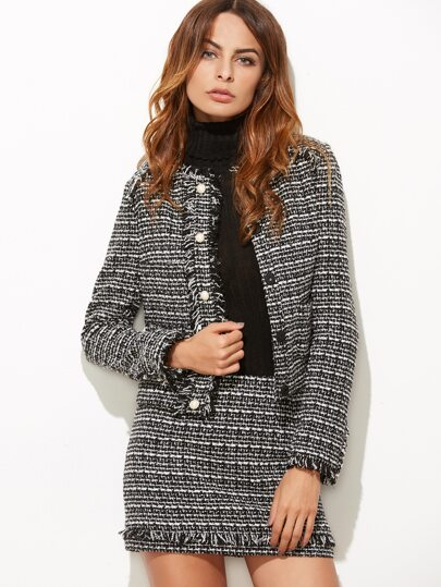 Black And White Frayed Trim Tweed Jacket With Skirt