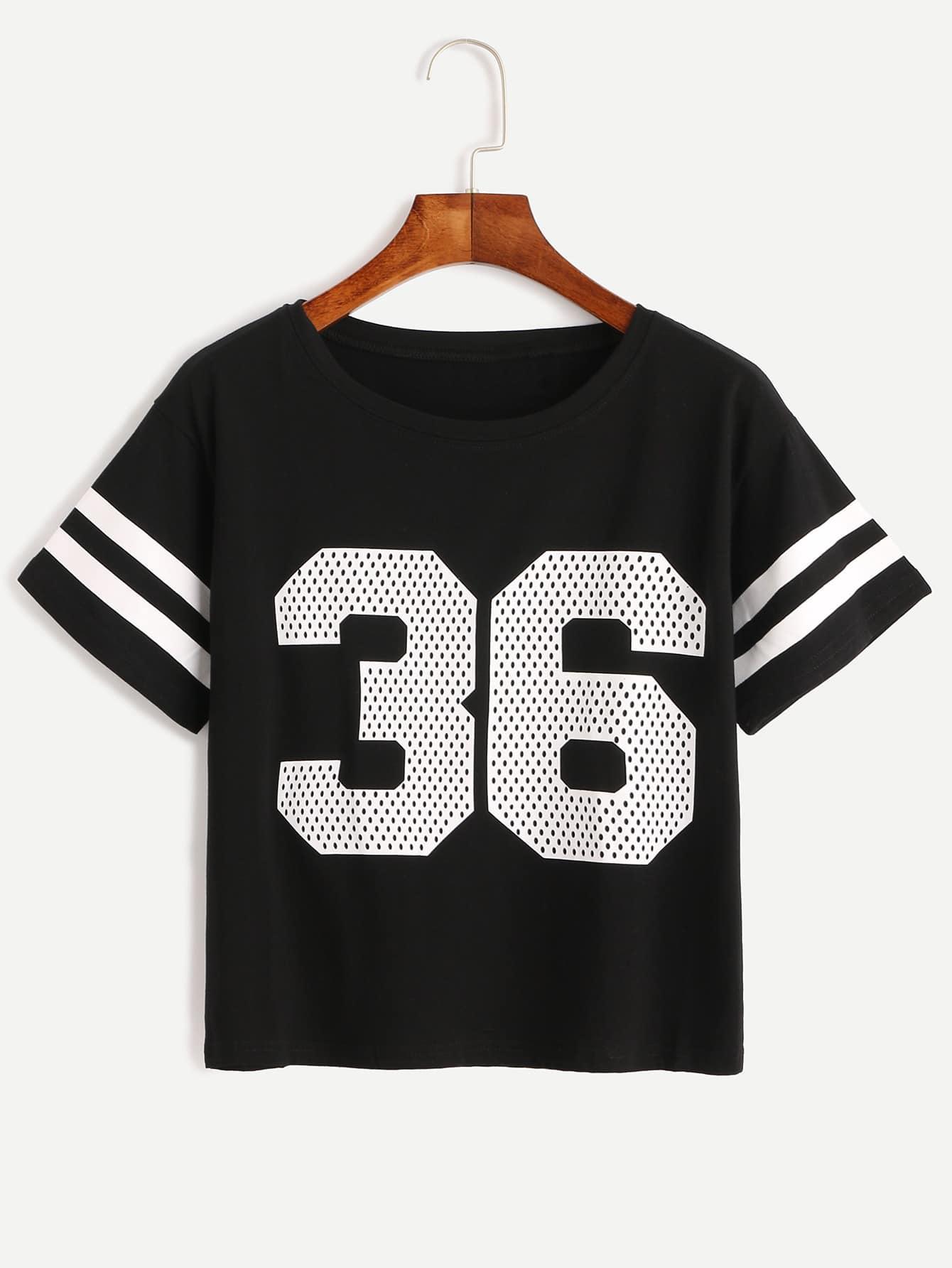 Фото Number Print Striped Sleeve T-shirt. Купить с доставкой