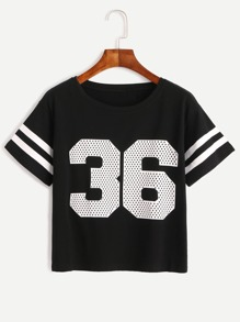 Black Number Print Varsity Striped T-shirt