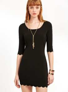 Black Scoop Neck Scallop Edge Dress