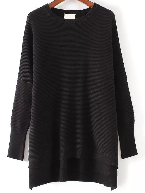 Black Ribbed High Low Knitwear sweater161014206