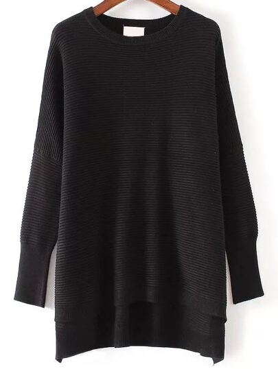 Black Ribbed High Low Knitwear