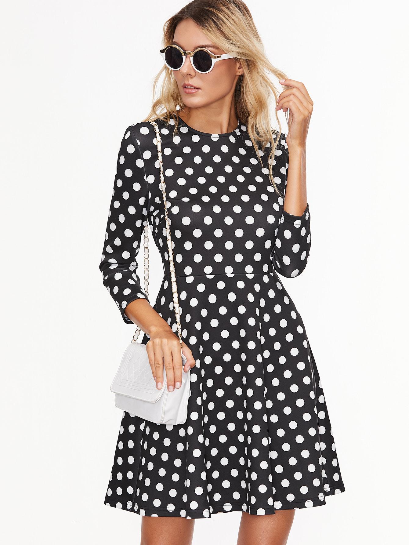 Модные платья в горошек в 2017 106