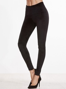 Leggings collants en velvet - noir