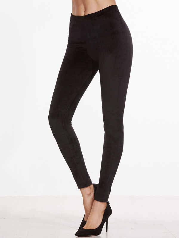 Black Velvet Skinny Leggings by Sheinside
