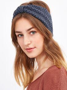 Dark Grey Knotted Textured Knit Headband