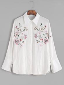 White Flower Embroidery Sharp Collar Blouse