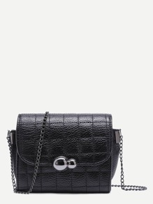 Black Pebbled PU Quilted Flap Chain Bag