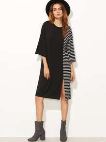 Contrast Striped Slit Hem Tee Dress