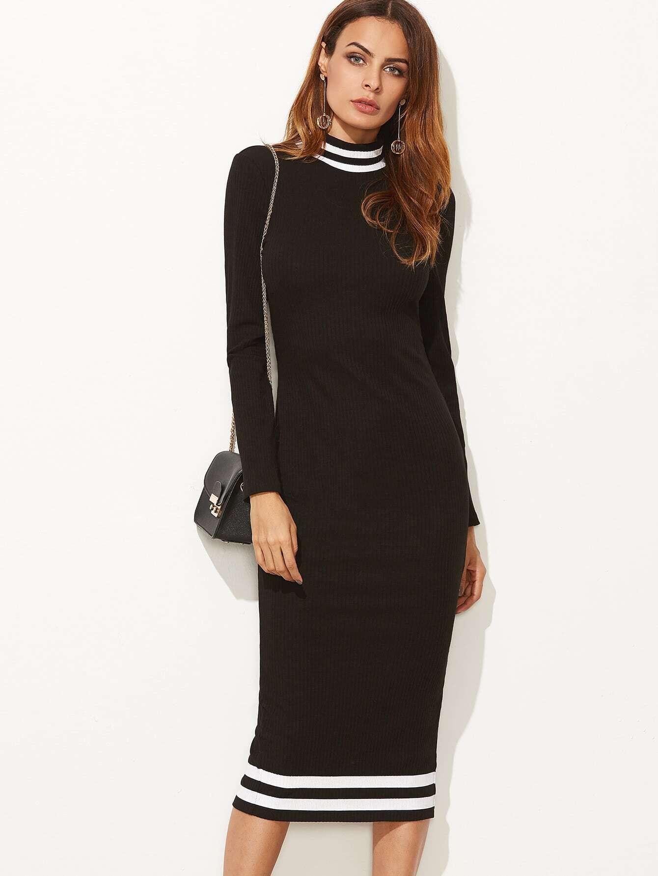 Black Ribbed Knit Striped Trim Slit Back Pencil Dress dress161031703