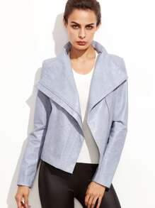 Blue Zipper Detail PU Jacket