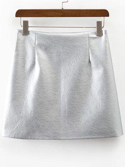 Metallic Silver Side Zipper PU Skirt