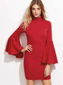 Red High Neck Bell Sleeve Bodycon Dress