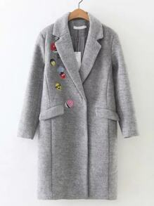 Abrigo con bordado y bolsillo - gris