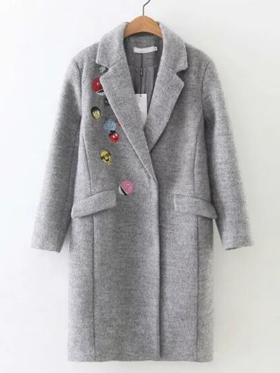 Grey Cartoon Embroidered Pockets Coat
