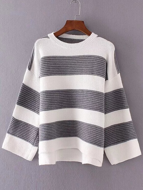 Color Block Striped Drop Shoulder High Low Knitwear sweater161017226