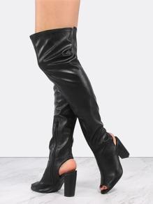 Chunky Heel Mule Boots BLACK