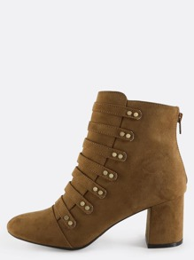 Strappy Military Suede Ankle Boots MOSS