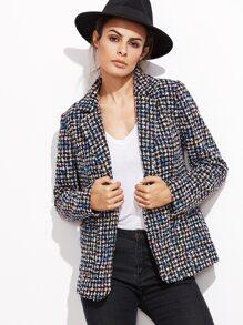 Multicolor Notch Collar Pocket Front Tweed Blazer
