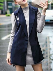 Navy V Neck Applique Pouf Pockets Outerwear