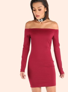 Sleeved Open Shoulder Bardot Bodycon Dress RED