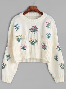 Beige Flower Embroidered Crop Sweater