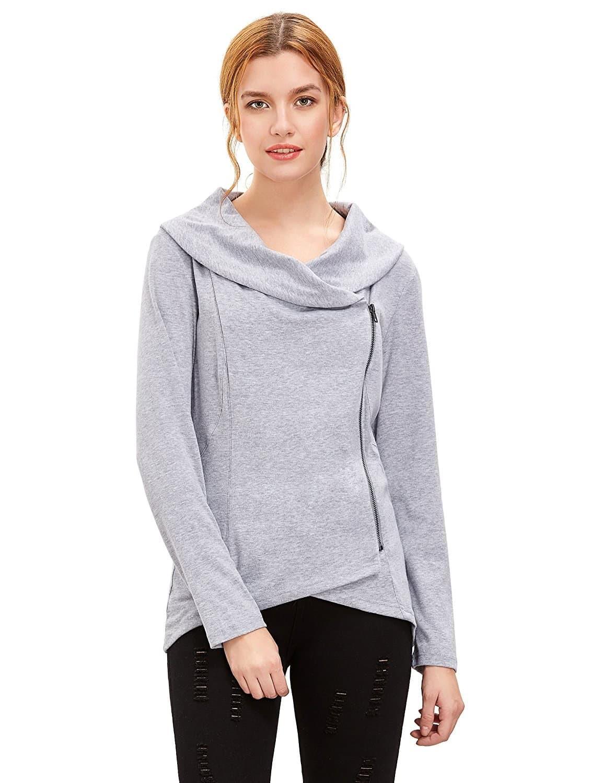 Фото Light Grey Cowl Neck Asymmetric Zip Coat. Купить с доставкой