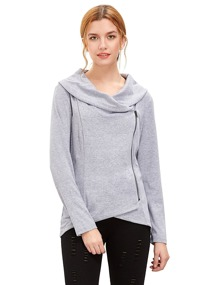 Light Grey Cowl Neck Asymmetric Zip Coat