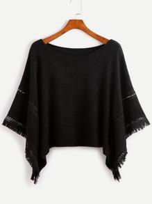 Black Contrast Crochet Fringe Hem Poncho Sweater
