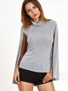 Heather Grey Cowl Neck Cape T-shirt