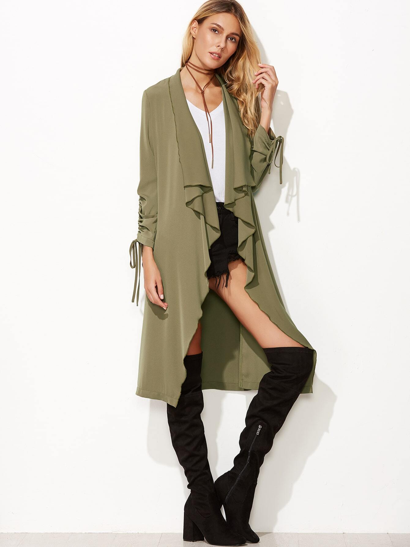 Army Green Waterfall Collar Drawstring Sleeve CoatArmy Green Waterfall Collar Drawstring Sleeve Coat<br><br>color: Green<br>size: L,M,S,XS