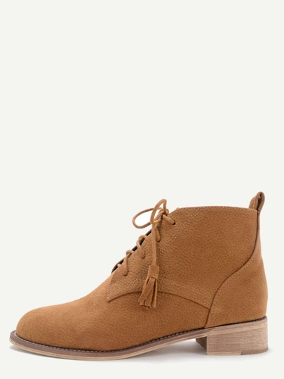Light Brown Nubuck Leather Cork Heel Oxford Booties