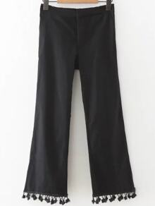 Black Pom Pom Hem Crop Pants