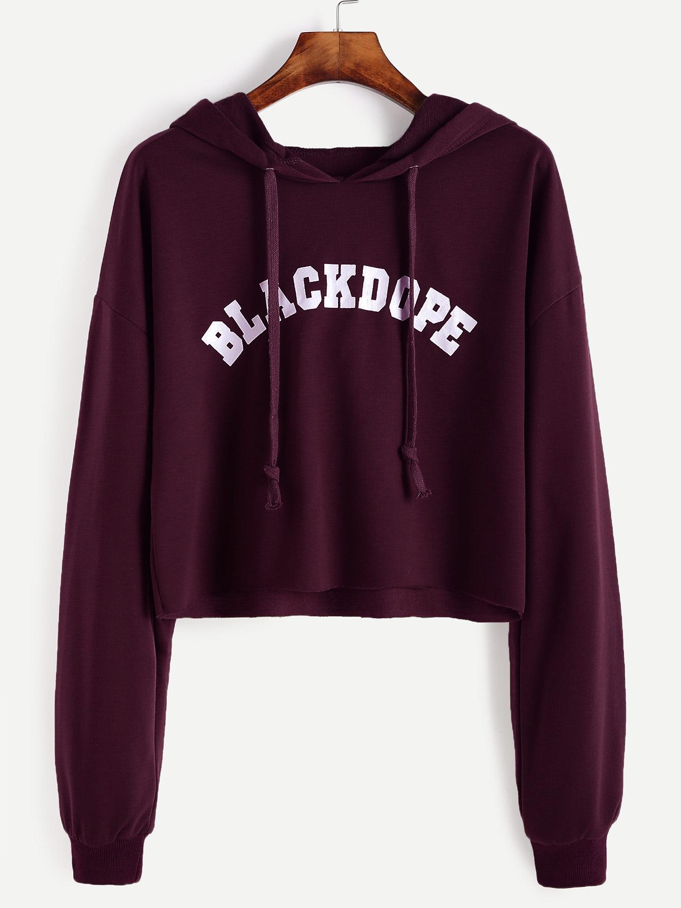 Letter Print Drop Shoulder Raw Hem Crop Hoodie sweatshirt161014105