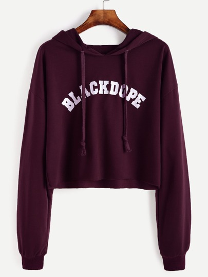 Letter Print Drop Shoulder Raw Hem Crop Hoodie