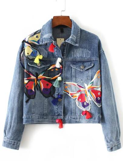 Light Blue Butterfly Embroidery Crop Denim Jacket