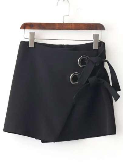 Falda con diseño cruzado con lazo - negro