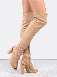 Peep Toe Suede Block Heel Boots TAUPE