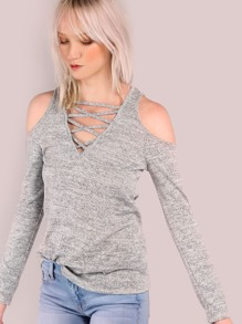 Sleeved Cold Shoulder Cross Bust Top HEATHER GREY