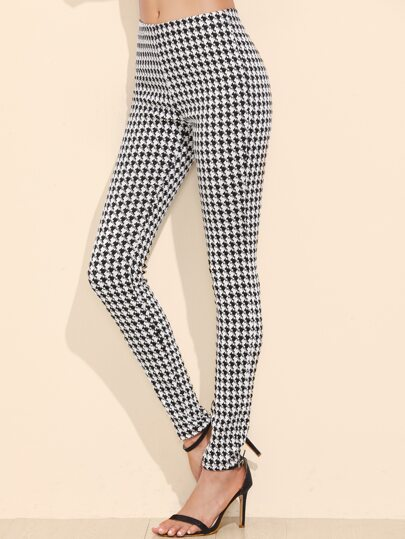 Black And White Houndstooth Skinny Pants