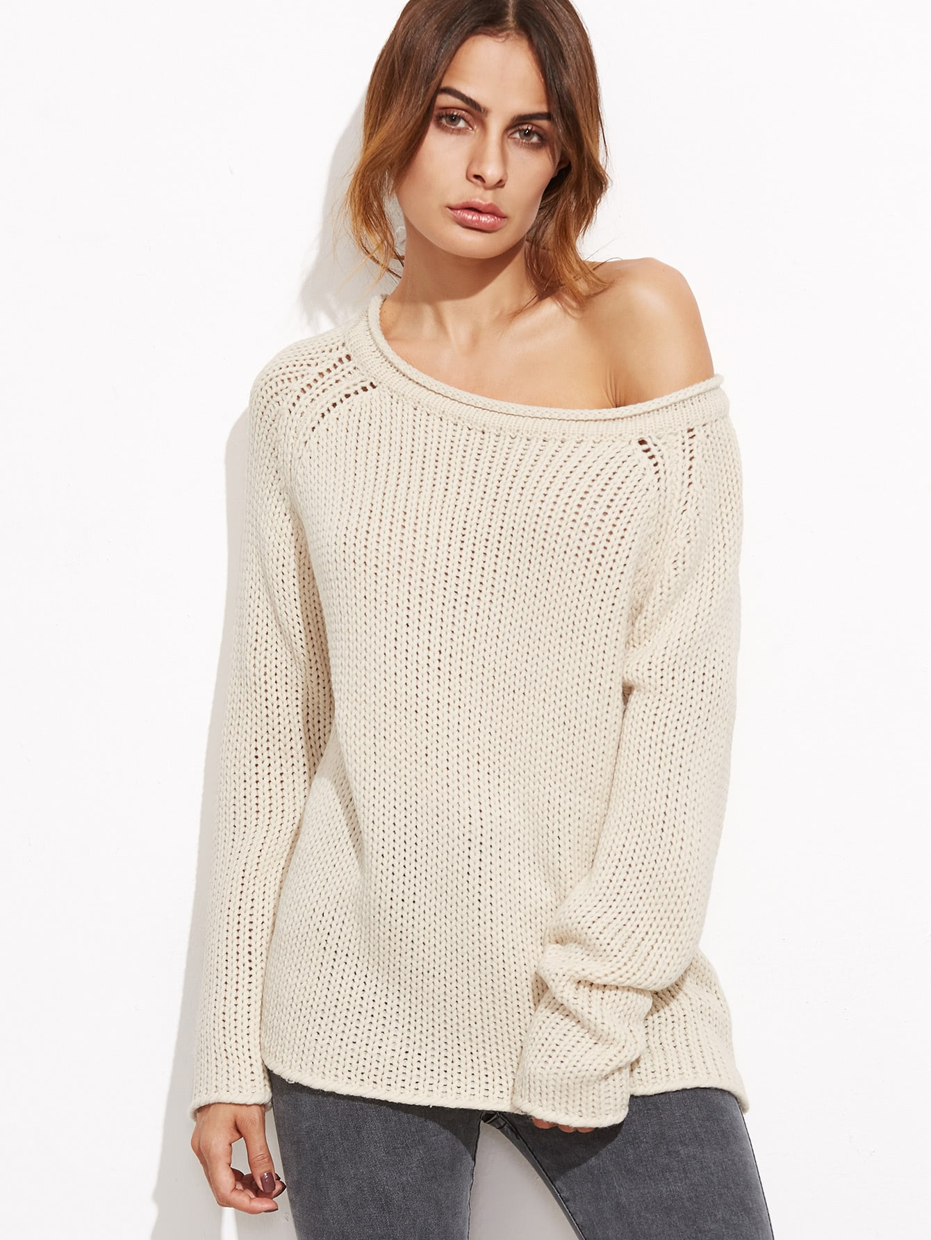 Apricot Boat Neck Raglan Sleeve Loose Knit Sweater sweater161007469