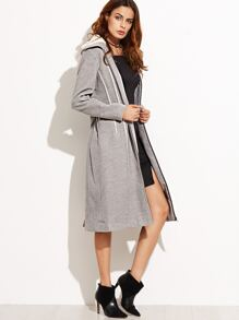 Grey Faux Shearling Collar Contrast Binding Zip Up Belted Coat
