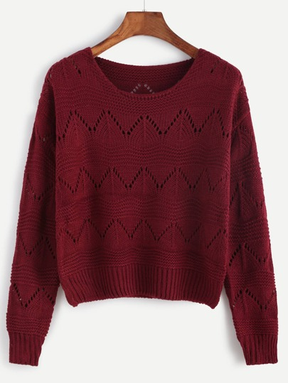 Burgundy Drop Shoulder Eyelet Sweater