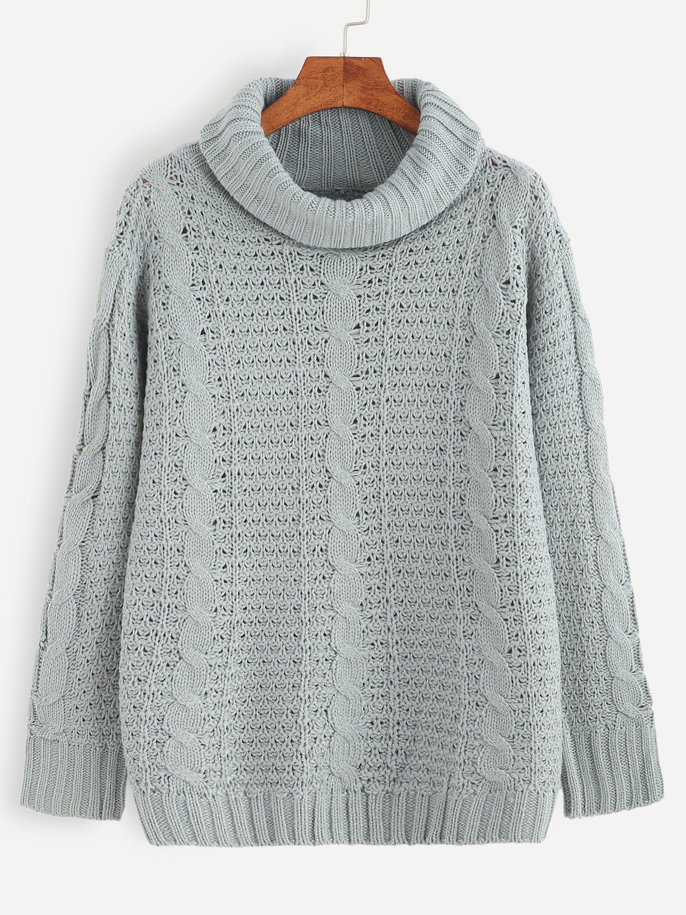 Grey Cable Knit Turtleneck SweaterGrey Cable Knit Turtleneck Sweater<br><br>color: Grey<br>size: one-size