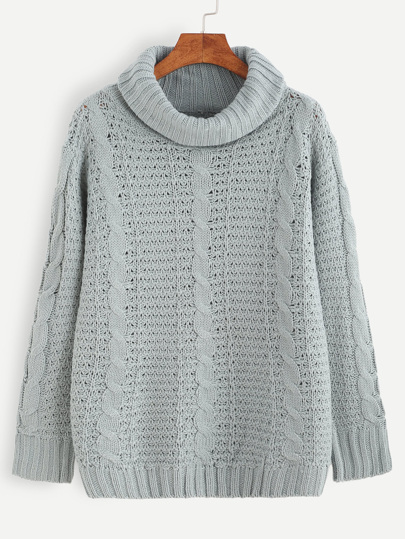 Grey Cable Knit Turtleneck Sweater