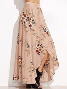 Pink Rose Print Asymmetric Wrap Maxi Skirt