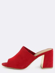 Open Toe Chunky Heel Mules RED