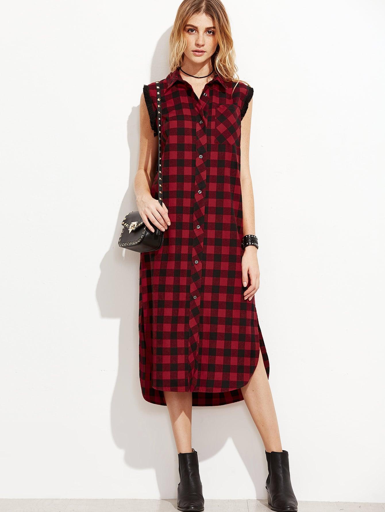 Фото Checkered Frayed Trim Curved Hem Shirt Dress. Купить с доставкой